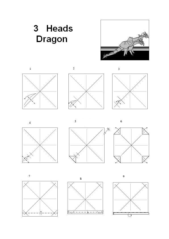 How Make Origami 3 Heads Dragon How To Make Origami Dragon