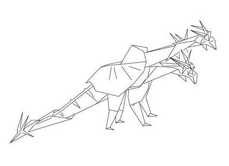 Origami 3 Headed Dragon Diagram